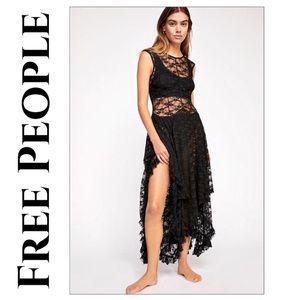 Free People Black French Courtship Slip Dress